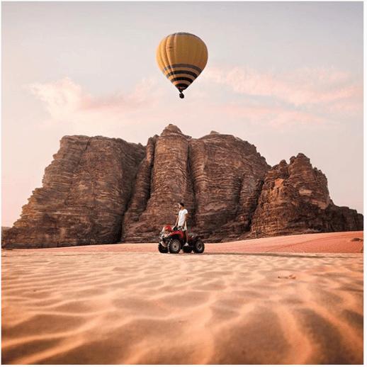 hot air balloon and four wheeler
